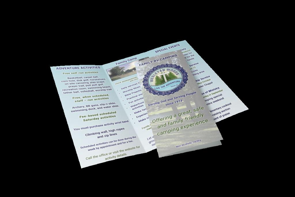 Brochure design 2021 for Wesleyan Woods campground.