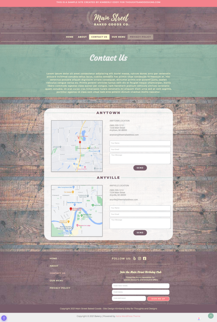 Full page screenshot of contact page for bakery website design