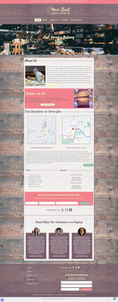 Full Page screenshot of bakery website design