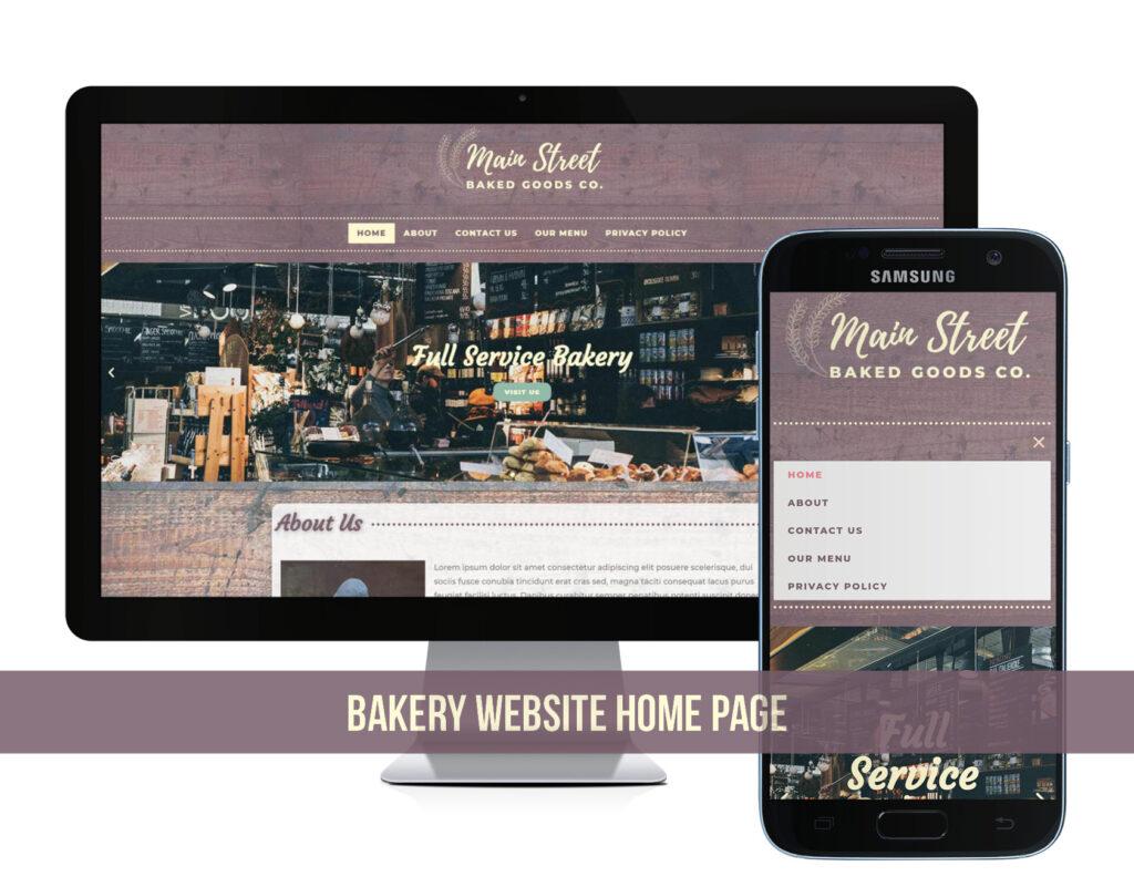 Bakery Website Design homepage mockup