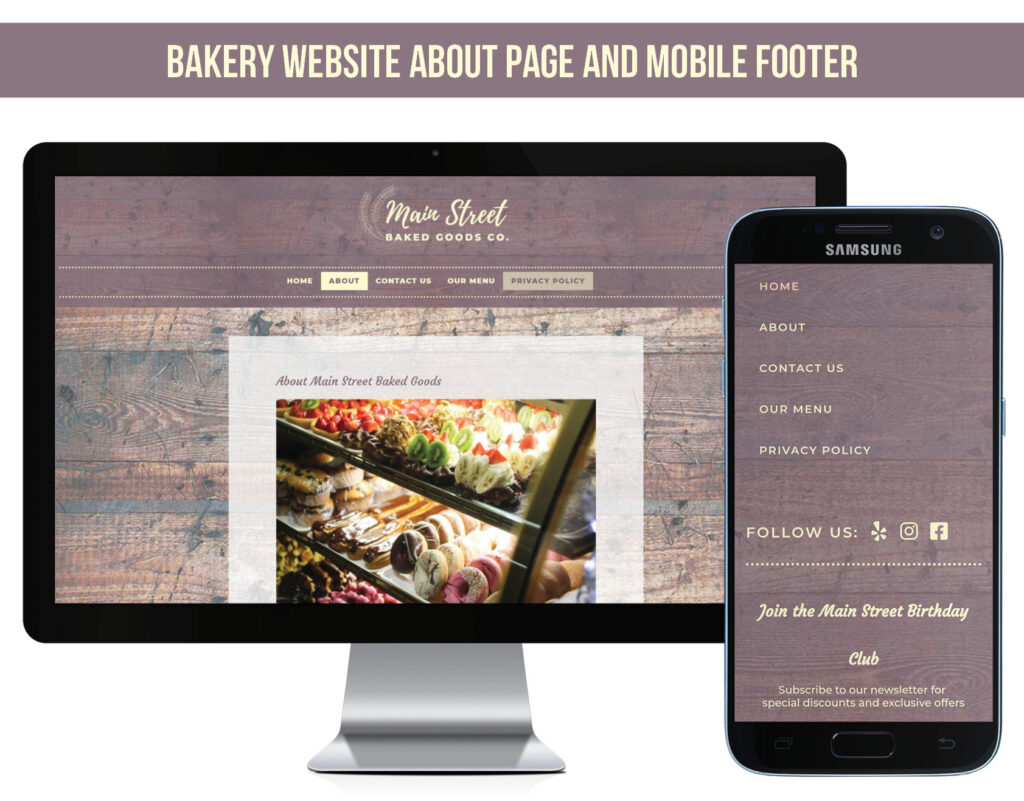 Sample About Page and Mobile Footer for Bakery Website Design