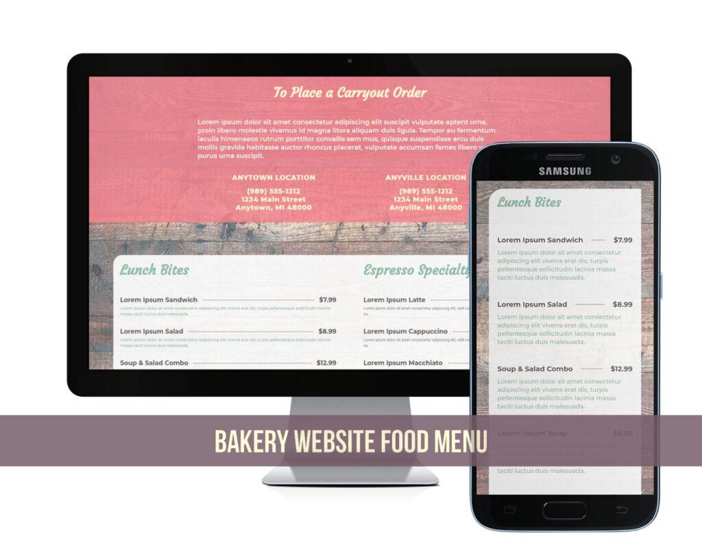 Bakery Website Ordering Menu