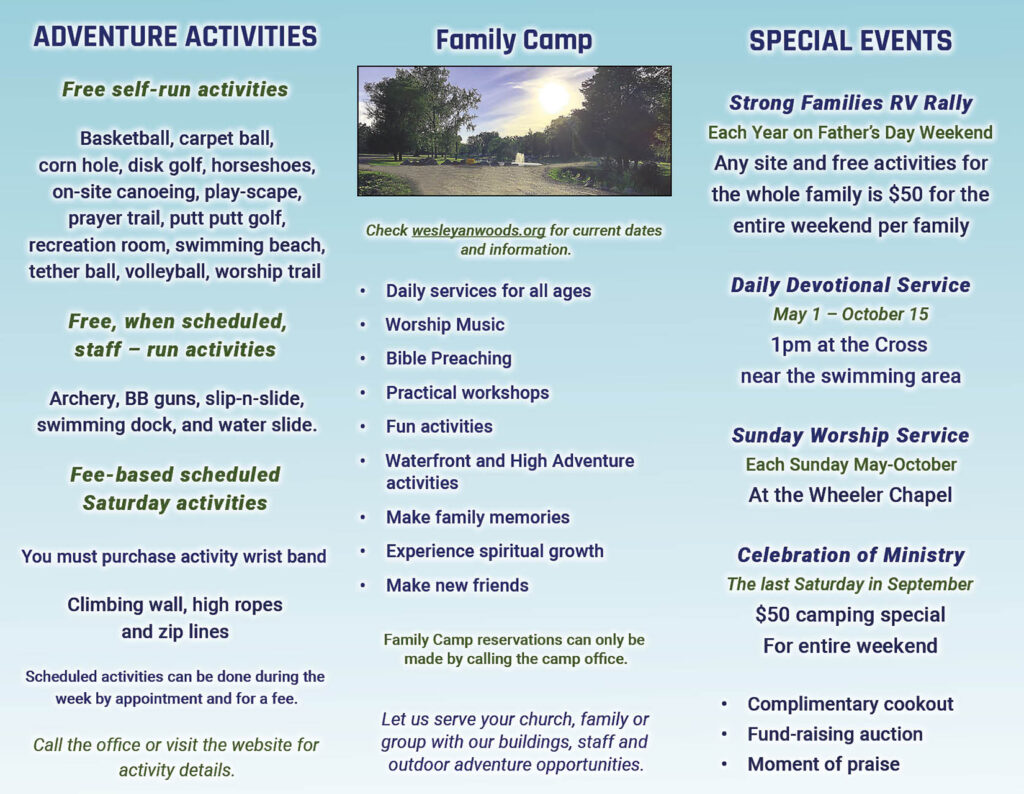 Brochure design interior for wesleyan woods campground