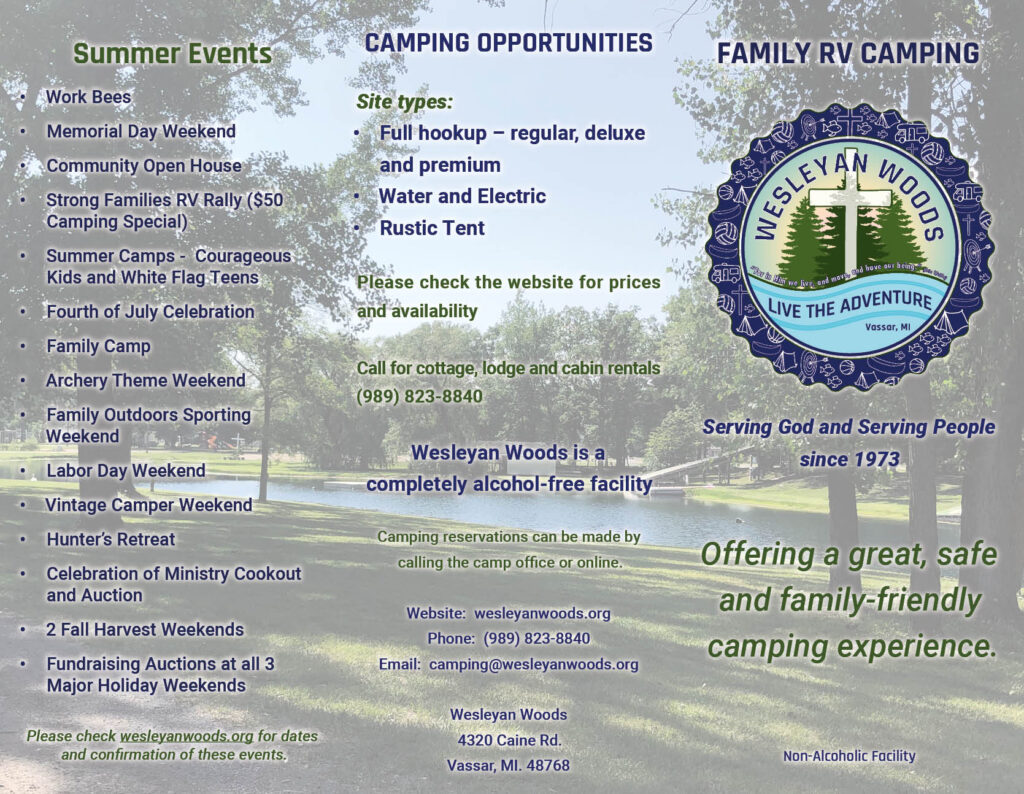 Front page brochure design for Wesleyan woods campground