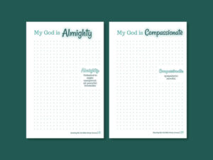 Sample page layouts for the Knowing my God print workbook. Low content book design.