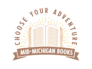 Bookstore Logo Design reads Choose Your Adventure with a vintage style engraved book illustration
