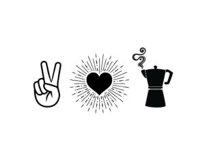 Peace love and La Moka Graphic T-shirt design.