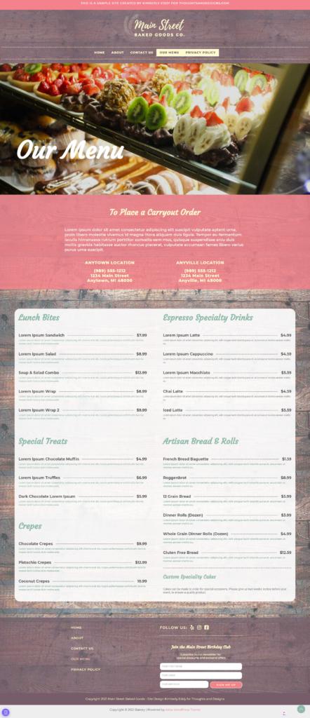 Full page bakery website design ordering menu
