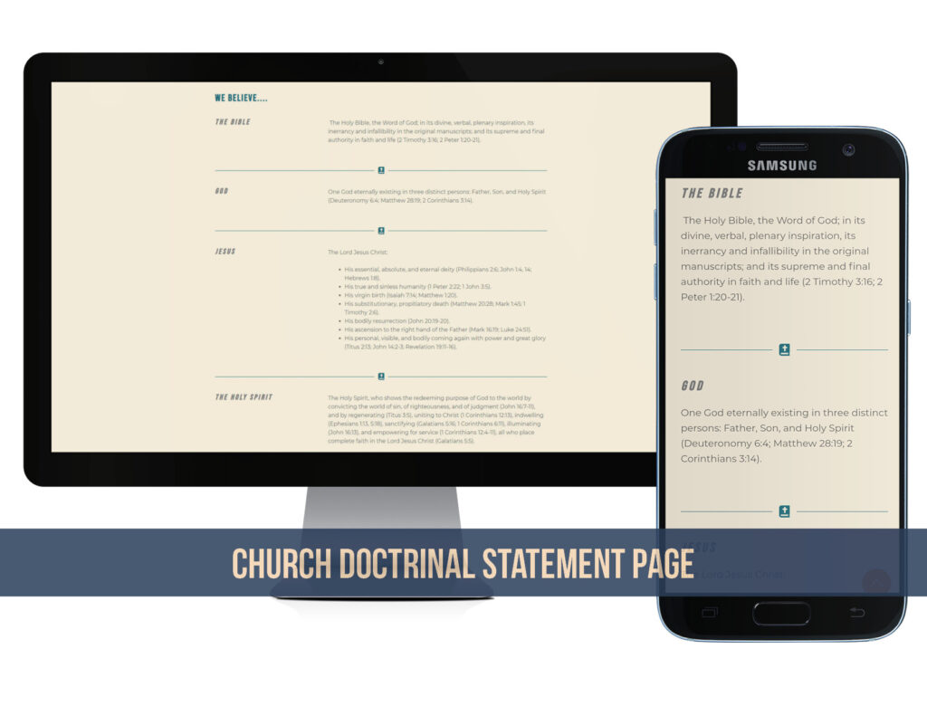 Church website what we believe page