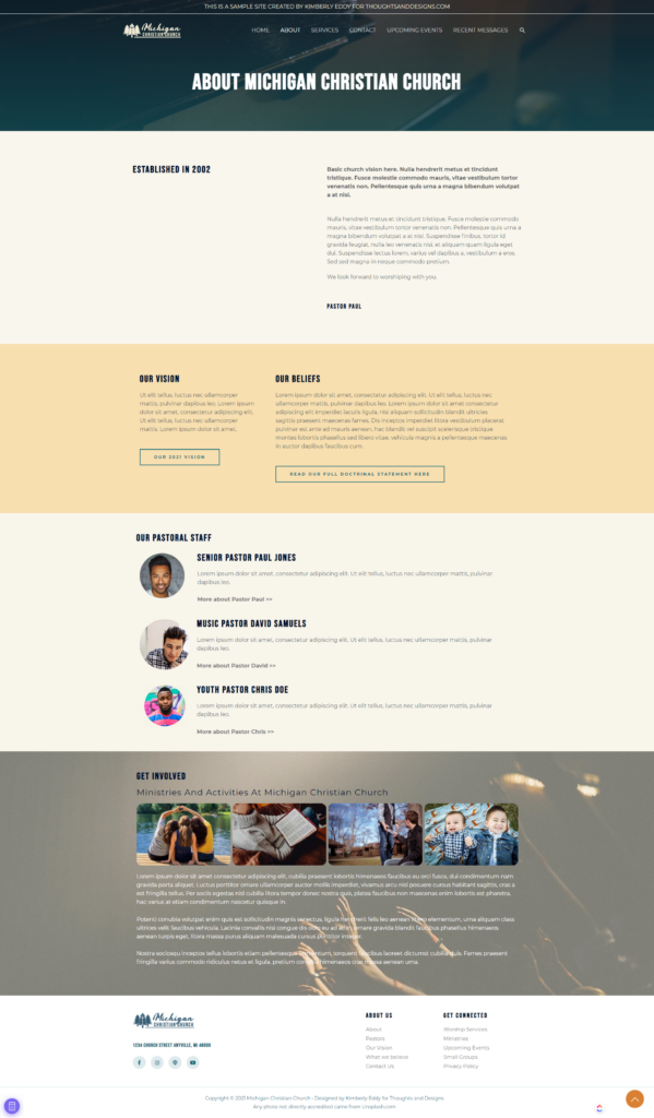 Full Page Screenshot of Church Website About Page