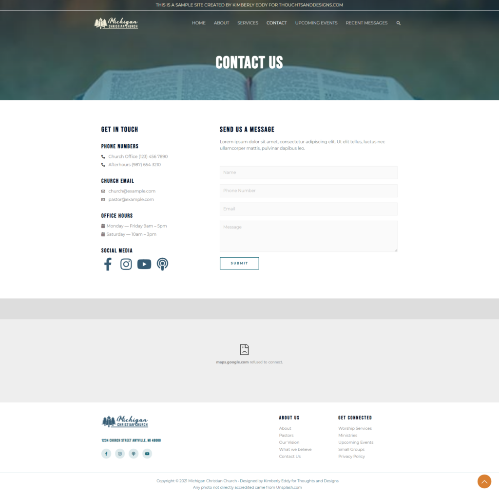 Full Page Screenshot of Church Website Contact Page