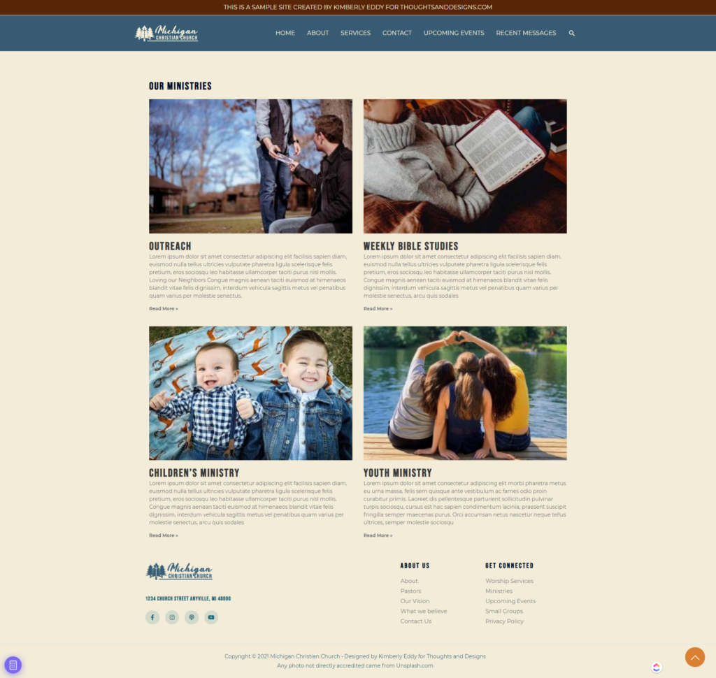 Full Page Screenshot of Church Website Ministries Page