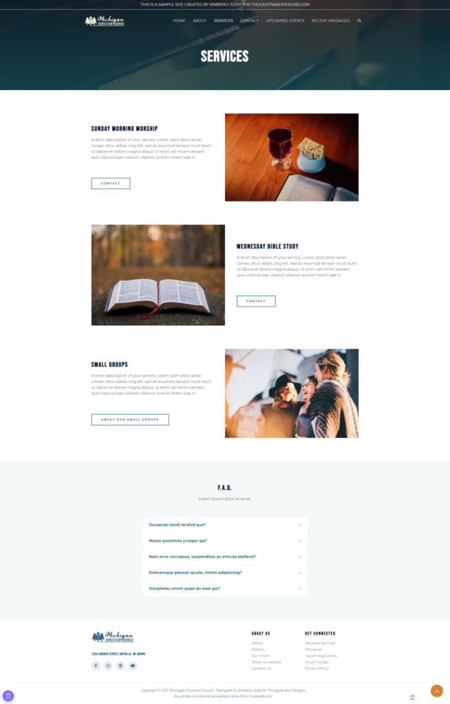 Full Page Screenshot of Church Website Services Page