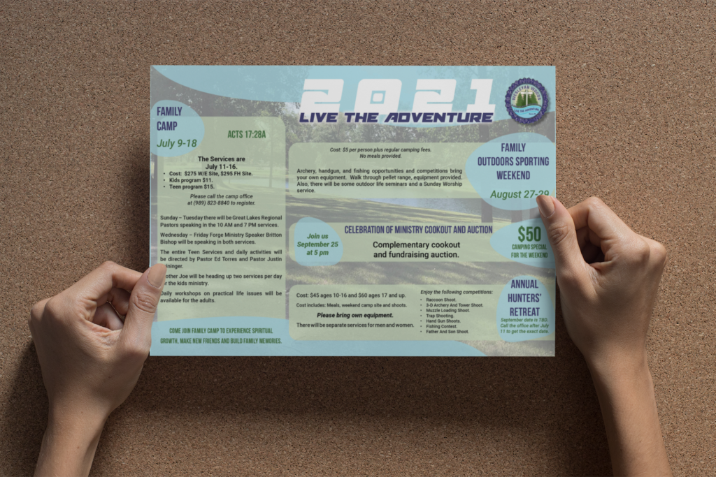 Flyer design for Wesleyan woods campground 2021