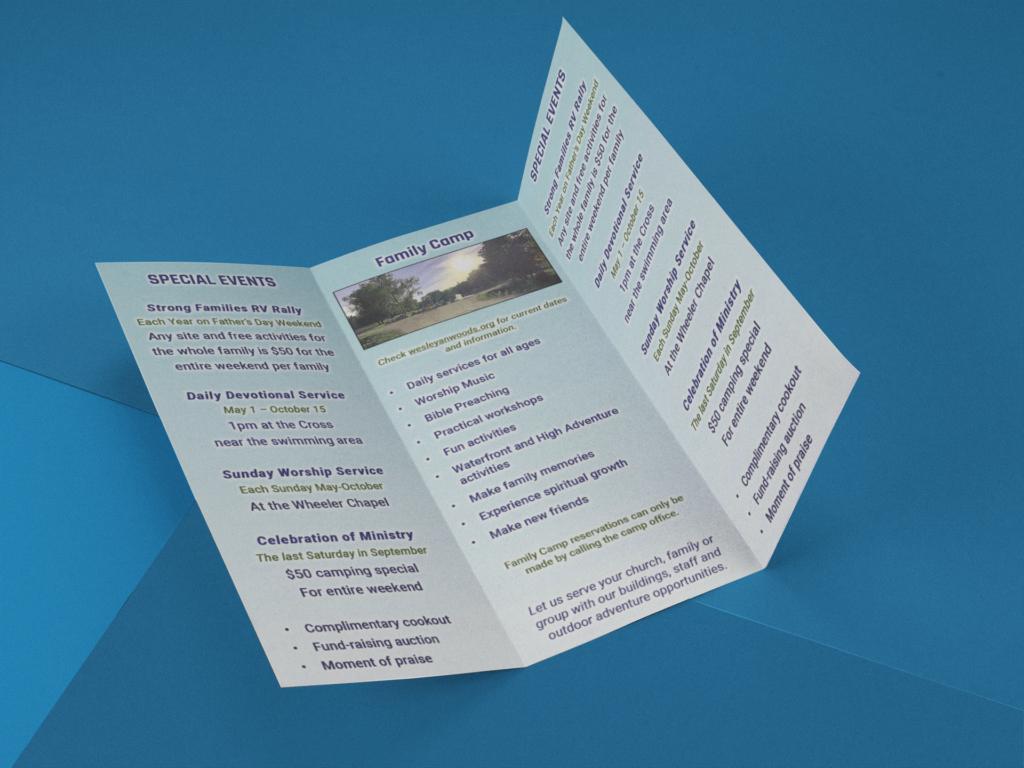 Brochure design 2021 for Wesleyan Woods campground