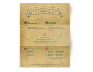 Wesleyan Woods Campground Flyer with Treasure map Theme, designed to look antique and aged, with hand drawn elements